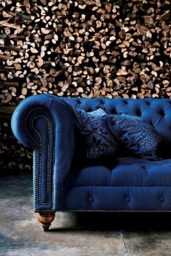 Canapea Chesterfield albastru cobalt de la RLH