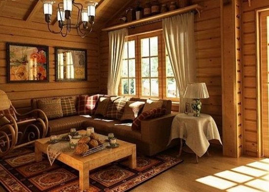 Living rustic cu mult lemn