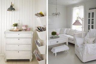 Living rustic cu peretii cu lambriu din lemn alb
