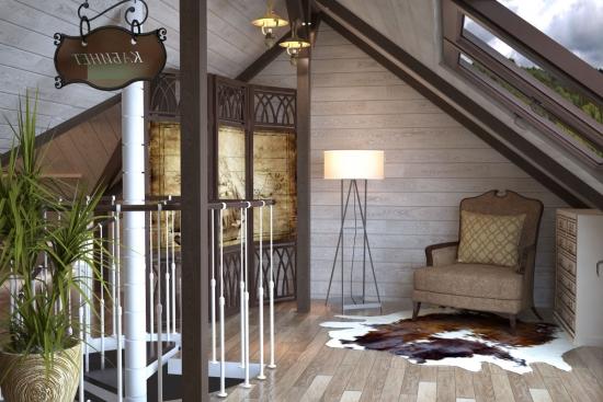 Mansarda casa din lemn