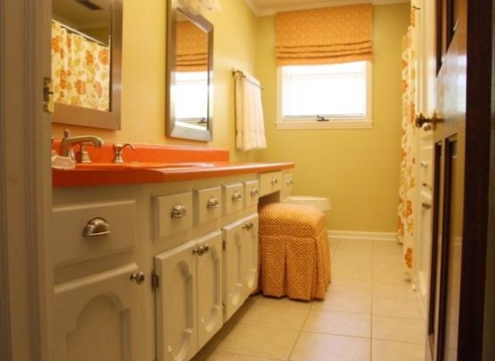 Idei de amenajare pentru o baie portocalie + GALERIE