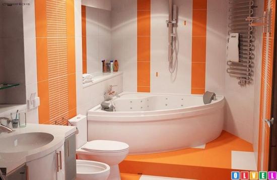 Design baie cu portocaliu si alb