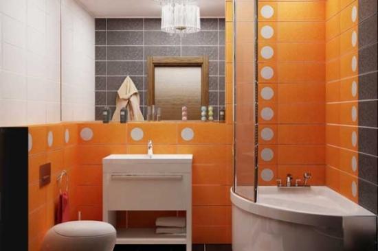 Maro portocaliu si alb culori pentru o baie moderna