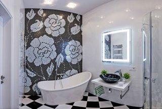 Design modern baie alb cu negru