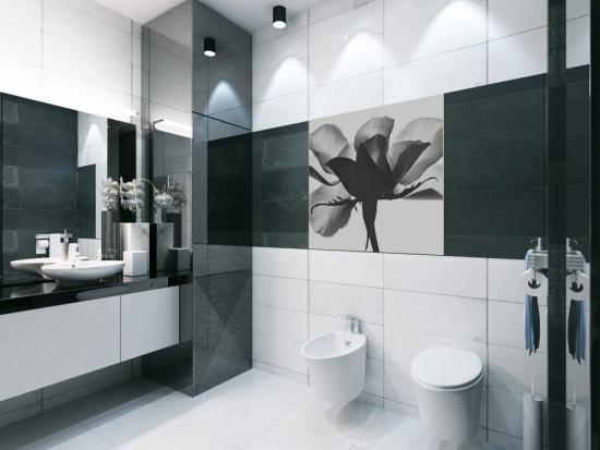Faianta alba si neagra cu model pentru baie