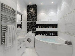 Perete negru de faianta in baie