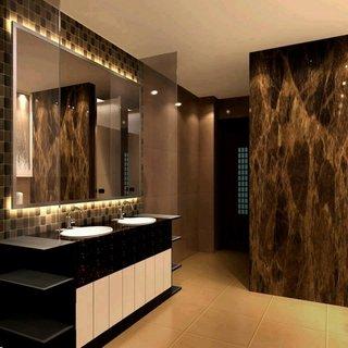 Pardoseala travertin si pereti cu marmura decor baie moderna