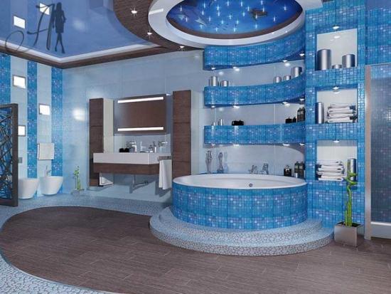 Baie placata cu mozaic albastru bleu pe diferite portiuni