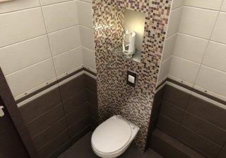 Nisa din spatele vasului de toaleta placata cu mozaic in culori intercalate