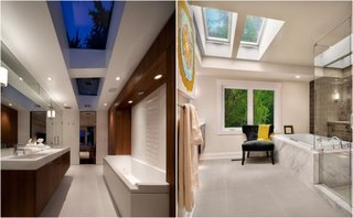 Bai cu stil foarte luminoase datorita luminatoarelor din tavan
