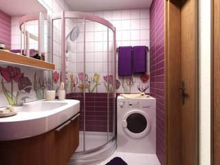 maro si mov pentru design baie ingusta