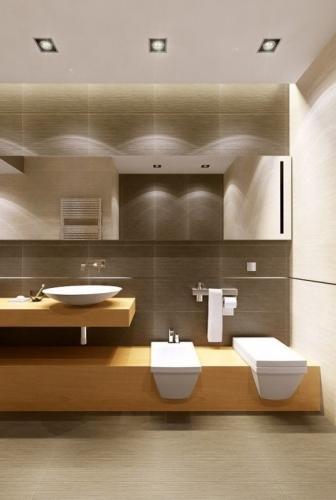 Scafa cu spoturi pe tavan in baie