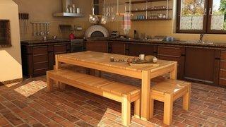 Veranda rustica cu mobilier din lemn