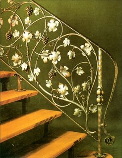 Model balustrada interior fier forjat vopsita cu auriu