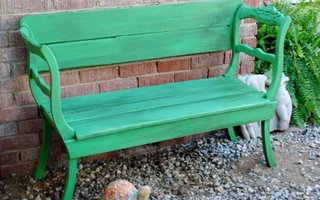 Banca verde gradina din scaune vechi