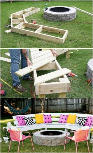 Realizarea unei banci din lemn de gradina pe curb
