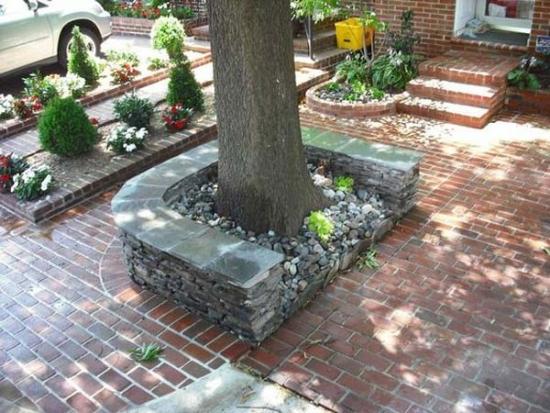 Banca gabioane de piatra in jurul copacului