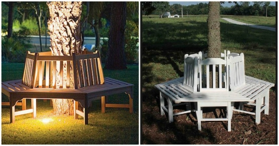 Banci in jurul copacilor  - 15 idei de zone de relaxare pentru curte