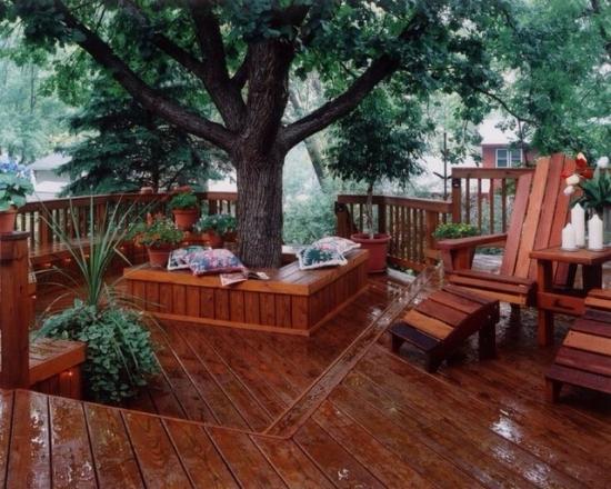 Terasa cu scaune in jurul copacului