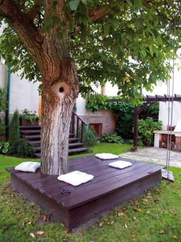 Terasa lemn in jurul unui arbore