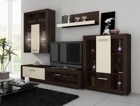 Mobilier lemn wenge perete televizor