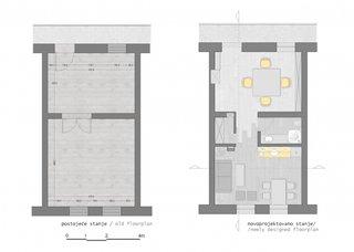 Plan de impartire a unui apartament de 40 mp