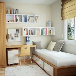Dormitor copil cu birou integrat cu patul