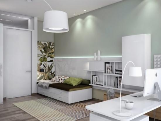 Dormitor cu birou mobilat stil ikea