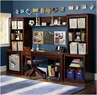 Birou compact pentru copii din lemn masiv