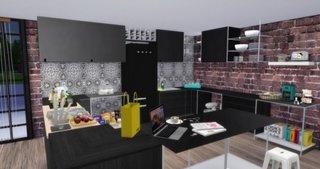 Idee amenajare bucatrie cu mobila neagra in stil urban