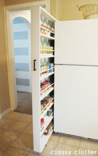 Dulap subtire intre frigider si perete