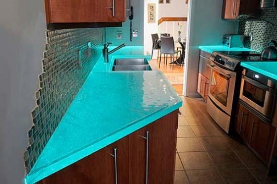 Blat bucatarie din sticla culoare fosforescenta