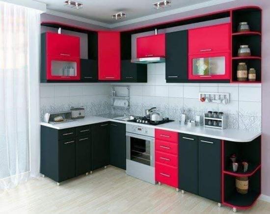 Mobila bucatarie negru cu rosu