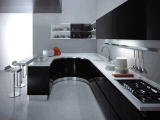 Mobila moderna bucatarie negru cu alb