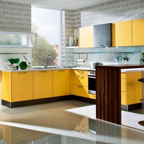 Mobila de bucatarie galben cu negru