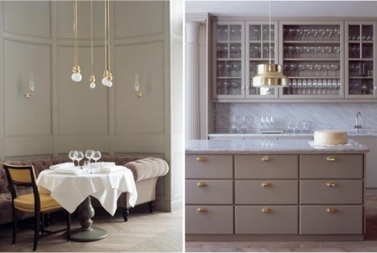 decor gri pentru bucatarie cu straluciri de cupru corpuri de iluminat si manere. Black Bedroom Furniture Sets. Home Design Ideas