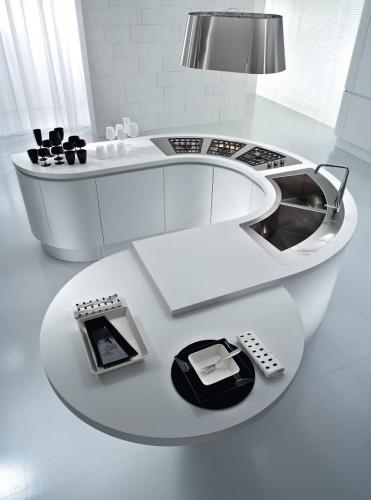 Insula de bucatarie circulara model cu design ultra modern