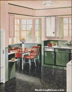 Bucatarie din 1940 cu roz si verde si linoleum negru cu apect de marmura