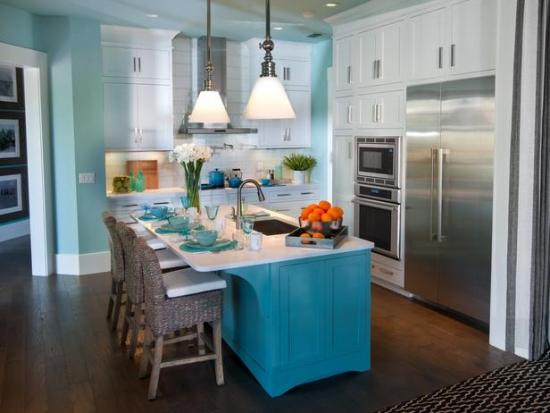 Insula de bucatarie albastra pentru un stil retro