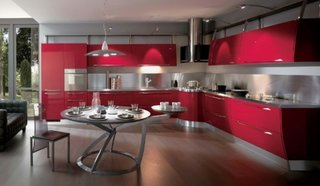 Mobila bucatarie cu design modern rosu cu gri