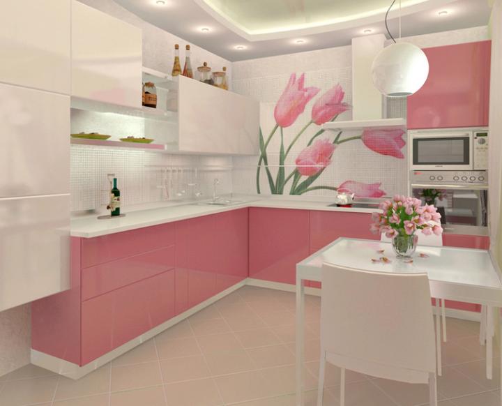 Faianta cu lalele roz in bucatarie