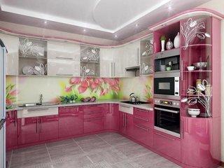 Mobila bucatarie roz cu alb cu sticla pictata