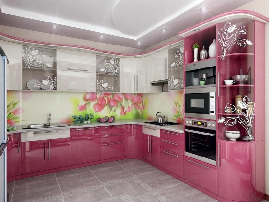 Bucatarii roz: cele mai frumoase interioare, elegante, dulci si atractive