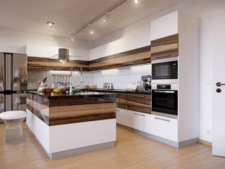Dulapuri bucatarie combinatie de alb si esente lemnoase