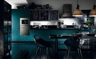 Mobilier de bucatarie albastru si negru