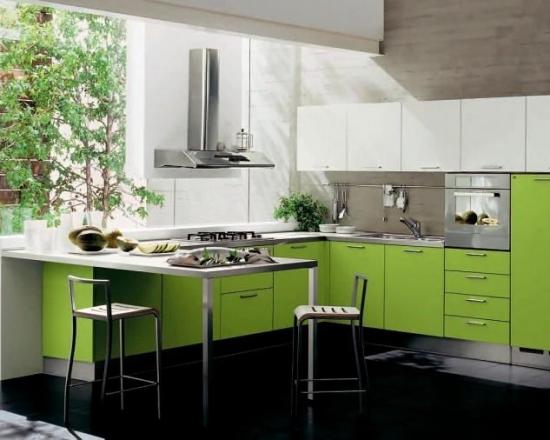 Bucatarie verde cu alb