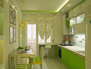Mobila bucatarie verde cu crem
