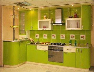 Mobila bucatarie verde lime