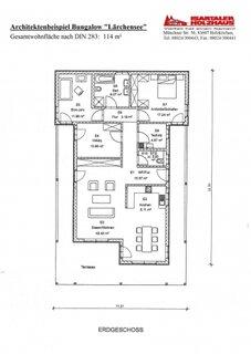 Plan casa cu parter si 3 dormitoare