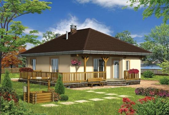 Casa cu parter cu veranda din lemn
